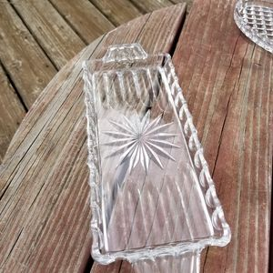 VINTAGE LONG CUT GLASS DISH